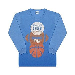 Camisa em meia malha com puff cor azul pavão