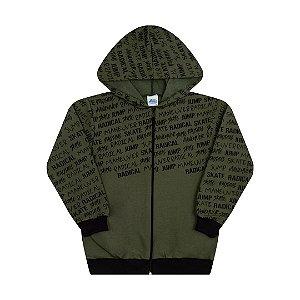Jaqueta em moletom com capuz e bolso cor verde musgo
