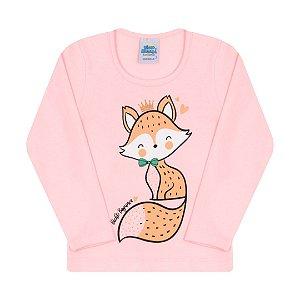 Blusa em cotton cor rosa bebê com detalhes de strass na estampa