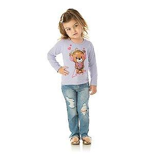 Blusa em cotton cor lavanda com estampa de ursinho