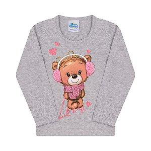Blusa em cotton cor mescla com estampa de ursinho