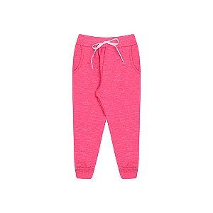 Calça em moletom moline pink com detalhe de cordão
