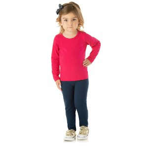 Calça legging marinho em cotton com elástico no cós