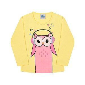 Blusa em cotton amarela estampa de corujinha detalhe em glitter
