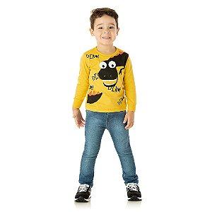 Camisa em meia malha estampada com detalhe puff amarelo pastel