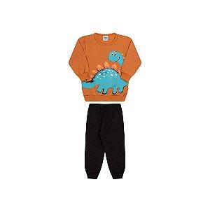 Conjunto de moletom com estampa de dinossauro cor laranja ocre