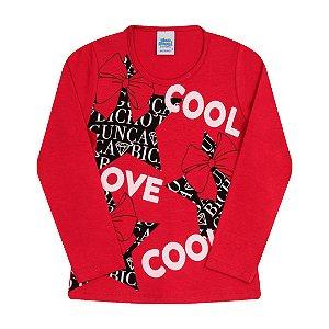 Blusa em cotton com detalhes em glitter cor escarlate vermelho