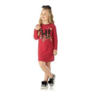 Vestido em moletinho flame com estampa foil cor cereja