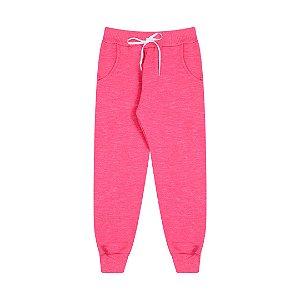 Calça em moletom moline com cordão cor pink