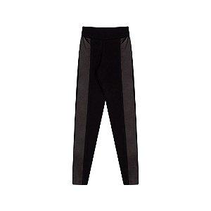 Calça legging em cotton com detalhes em cirrê cor preto