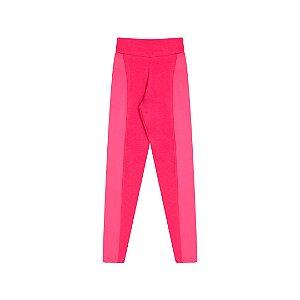 Calça legging em cotton com detalhes em cirrê cor pink
