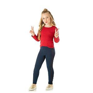 Calça legging em cotton com detalhes em cirrê cor marinho