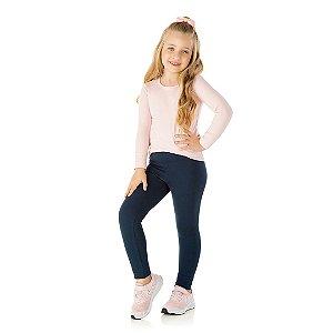 Calça legging em cotton com elastico no cós cor marinho