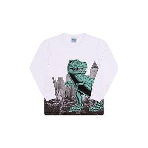 Camisa em meia malha cor branco com detalhes em puff