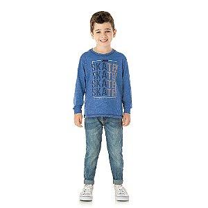 Camisa de manga comprida em meia malha moline cor azul clássico