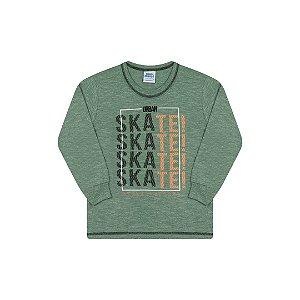 Camisa de manga comprida em meia malha moline cor verde floresta