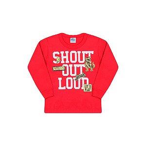 Camisa em meia malha cor vermelho com detalhes em gel na estampa
