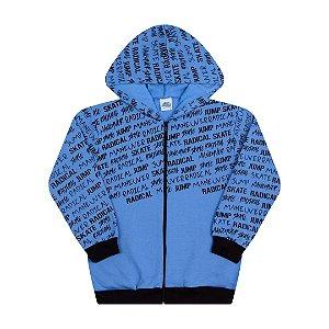 Jaqueta em moletom com capuz e bolso cor azul mar