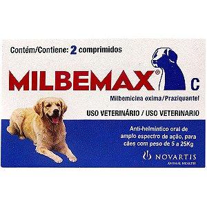 Vermífugo Elanco Milbemax C para Cães de 5 a 25 Kg - 2 Comprimidos