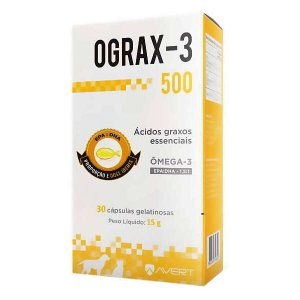 Suplemento Avert Ograx-3 para Cães e Gatos 500mg - 30 Cápsulas