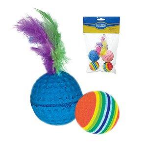 Brinquedo Chalesco Para Gatos Kit Bolas Catnip Colorido