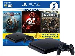 PlayStation 4 Bundle V12 1TB 1 Controle Sony - com 3 Jogos e 3 meses de PS Plus