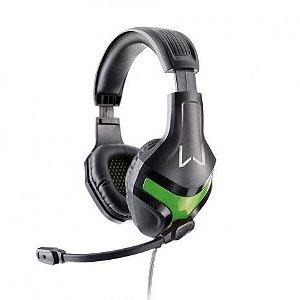 Headset Gamer Warrior Harve P2 Stereo Preto/Verde - PH298