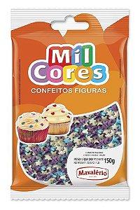 CONFEITO FIGURA ESTRELINHA BRANCA, AZUL E LILÁS MIL CORES 150G MAVALÉRIO
