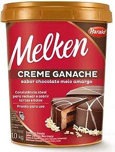 CREME GANACHE SABOR CHOCOLATE MEIO AMARGO BALDE MELKEN 1,0KG HARALD