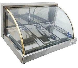 Estufa vidro curvo 3 bandejas em linha luxo