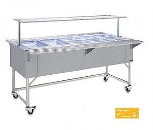 Balcão Self-service Refrigerado todo inox 182 x 69 x 90 cm 5 divisões Fritomaq