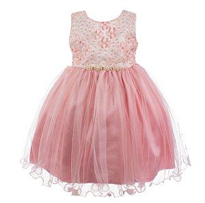 Vestido Infantil Rosê com saia em tule - Conto de fadas