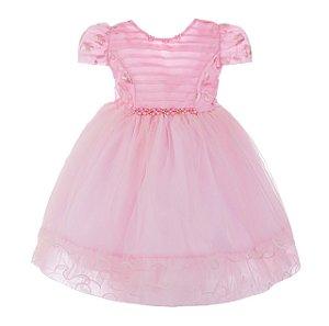 Vestido Infantil Rosa Claro com babado na Saia – Princesa Aurora