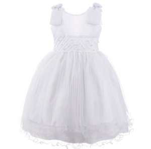 Vestido Infantil Branco e saia com Tule – Princesa da neve