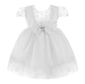 Vestido Infantil Branco com babado na Saia – Floco de neve