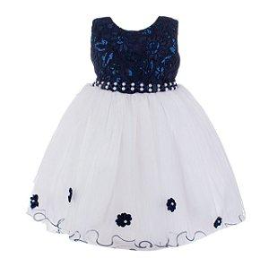 Vestido Infantil Azul Marinho e branco – Coração do oceano