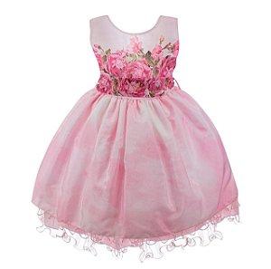 Vestido Infantil Rosa – Rosa Floral