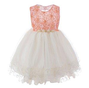 Vestido infantil Rosê e Branco – Baila bailarina