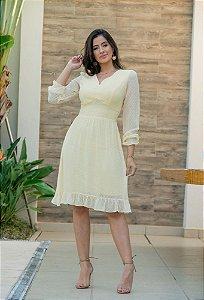 Vestido em Chiffon Bordado - Luciana Pais