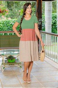Vestido em Malha Collor Block -  Luciana Pais