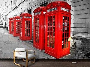 Painel Parede Fotográfico Cabines Telefônicas de Londres