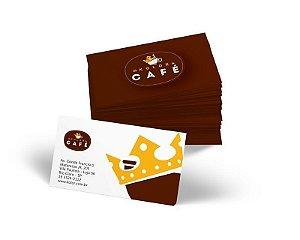 Cartão de Visita 9x5cm em Papel Couche 300gr com Laminação Fosca e Verniz Localizado