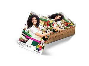 Folheto 10x15cm em Papel Couche 150gr com Verniz Total Frente e Verso