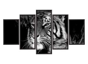 Quadro Mosaico Tigre em 5 partes