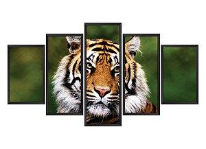Quadro Mosaico Tigre2 em 5 partes