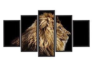 Quadro Mosaico Leão 2 em 5 partes