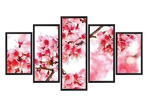 Quadro Mosaico flores 2 em 5 partes