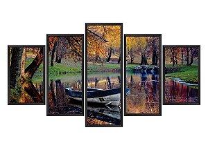 Quadro Mosaico barcos em 5 partes