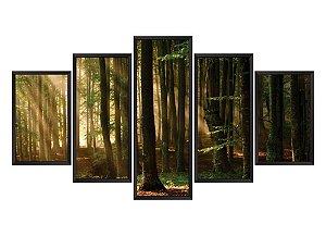 Quadro Mosaico floresta  em 5 partes