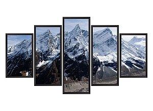 Quadro Mosaico montanha em 5 partes
